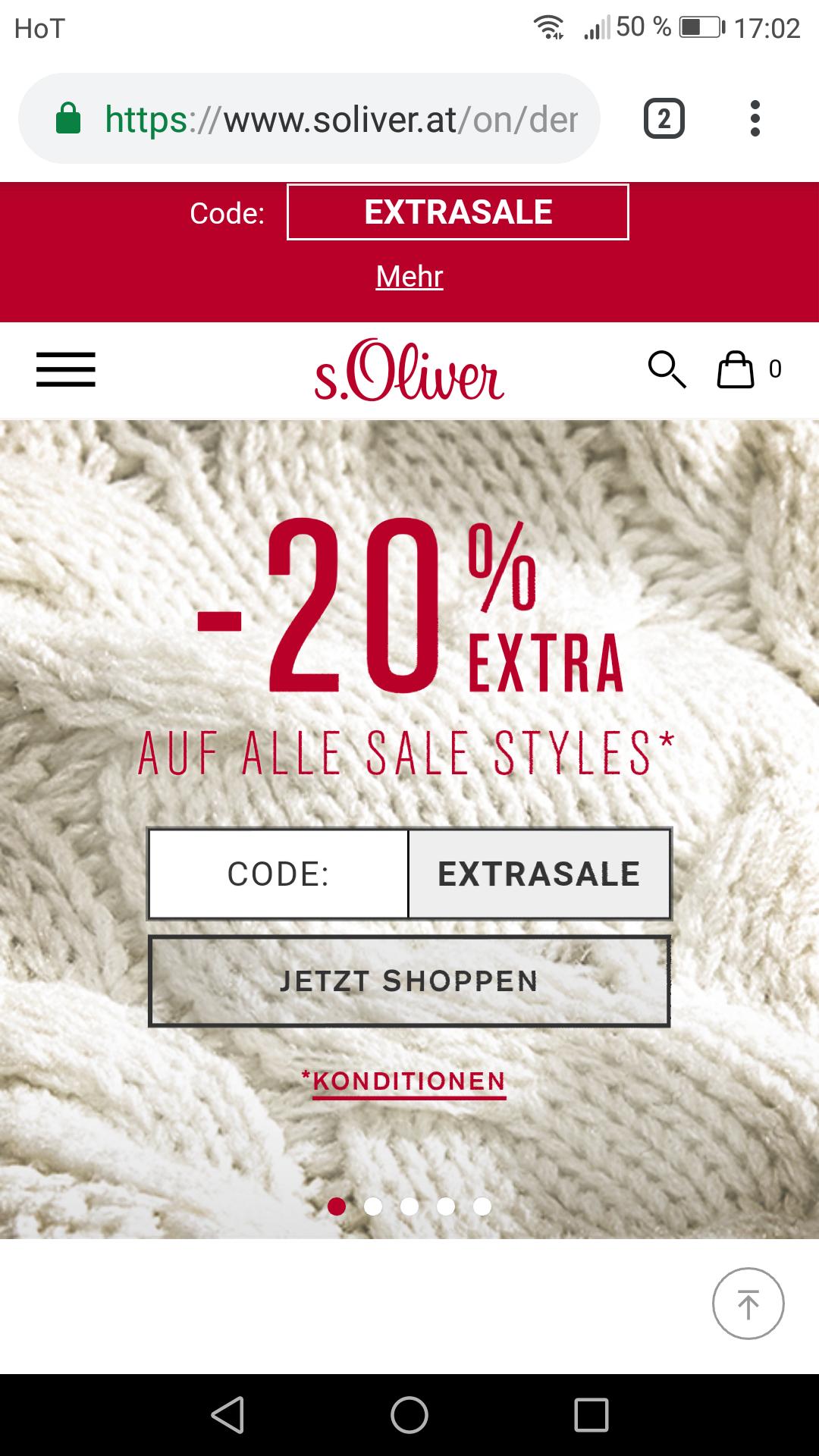 S.oliver 20 Prozent extra Rabatt auf sale