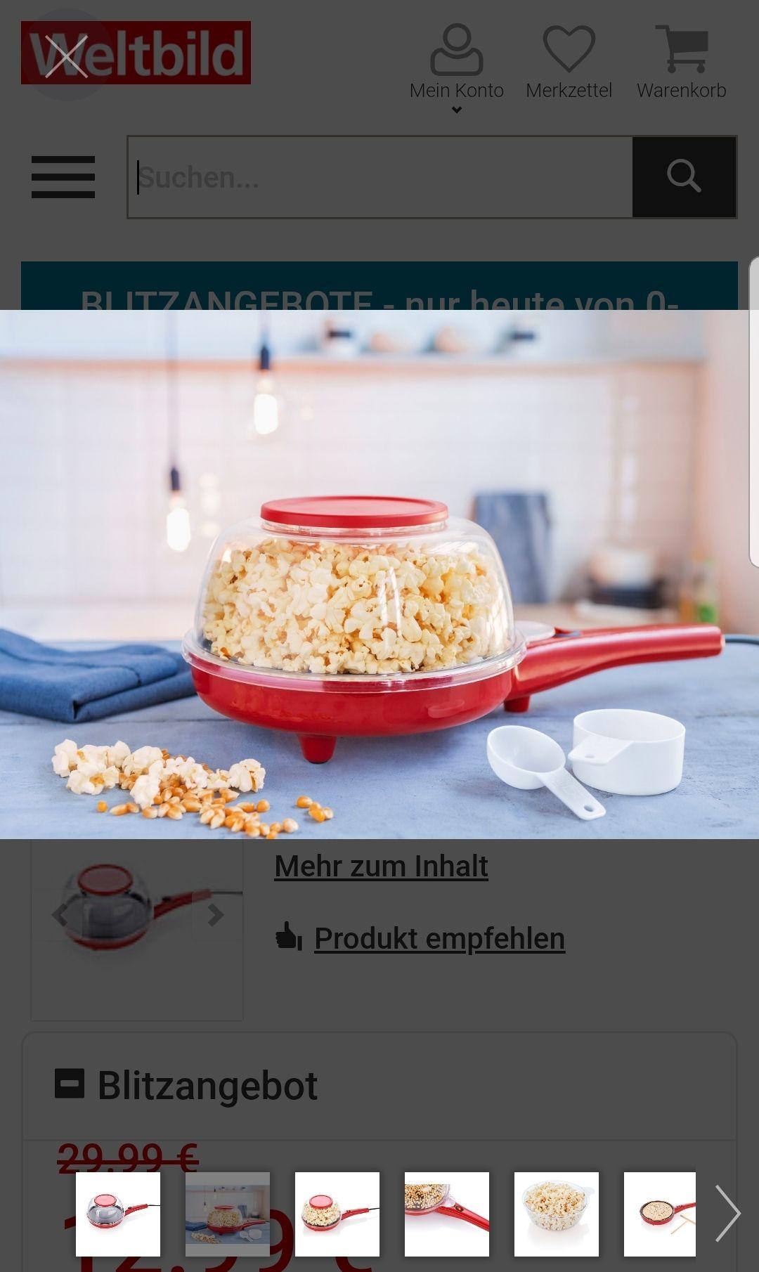 Weltbild Popcorn und Crepè Maker