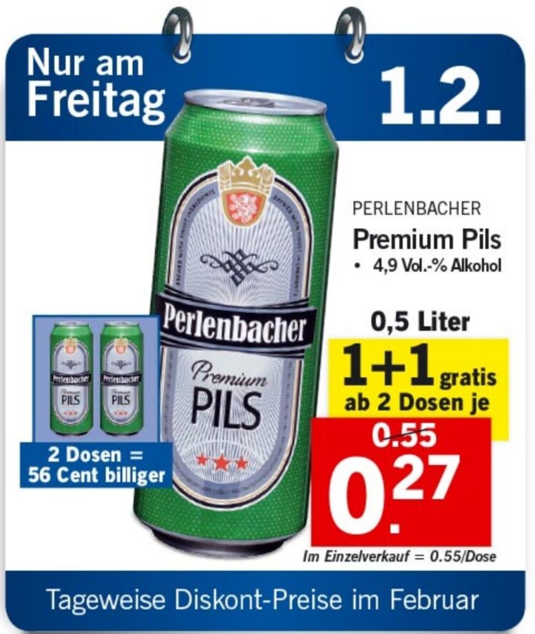 (Lidl) Perlenbacher Bier pro 0.5l Dose um 0.27€ ab 2 Stück