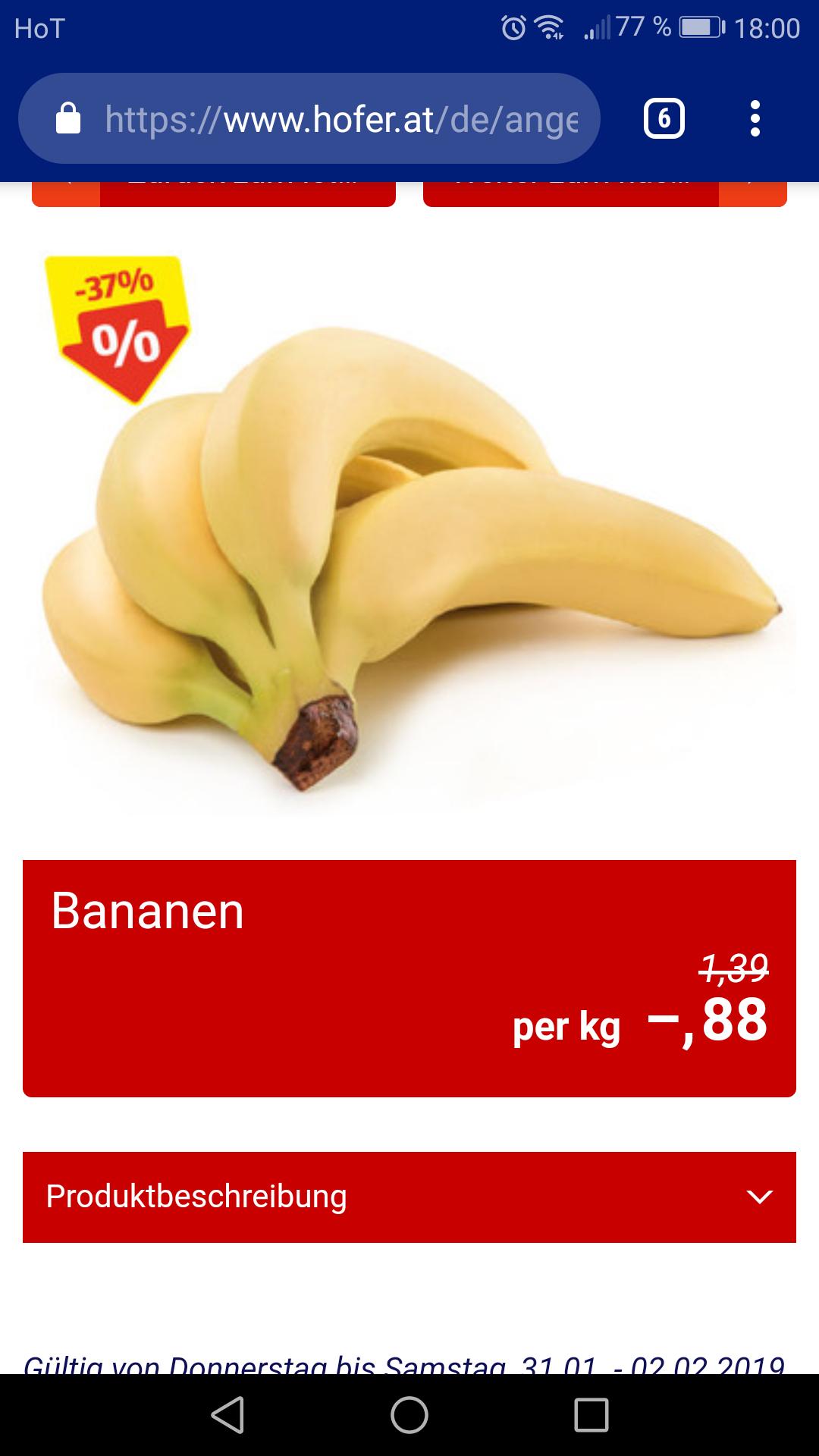Hofer preiskick bananen
