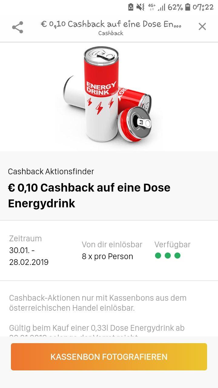 10c Cashback auf Energie Drinks (0,33) bei Aktionsfinder