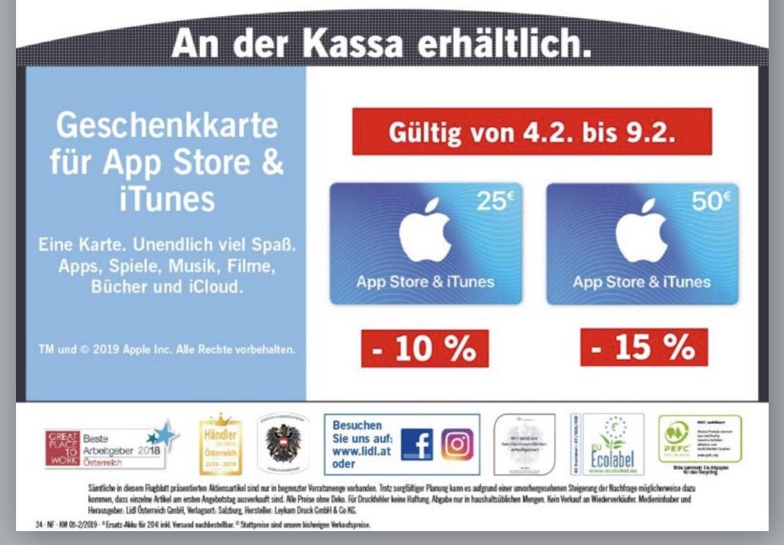 iTunes -10% und -15% bei Lidl