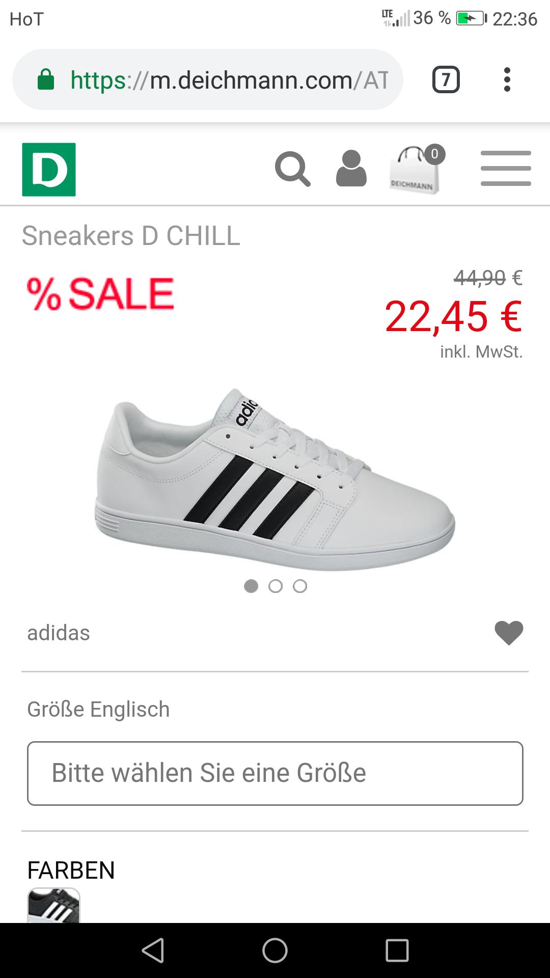 Deichmann Adidas sneakers in weiß und schwarz