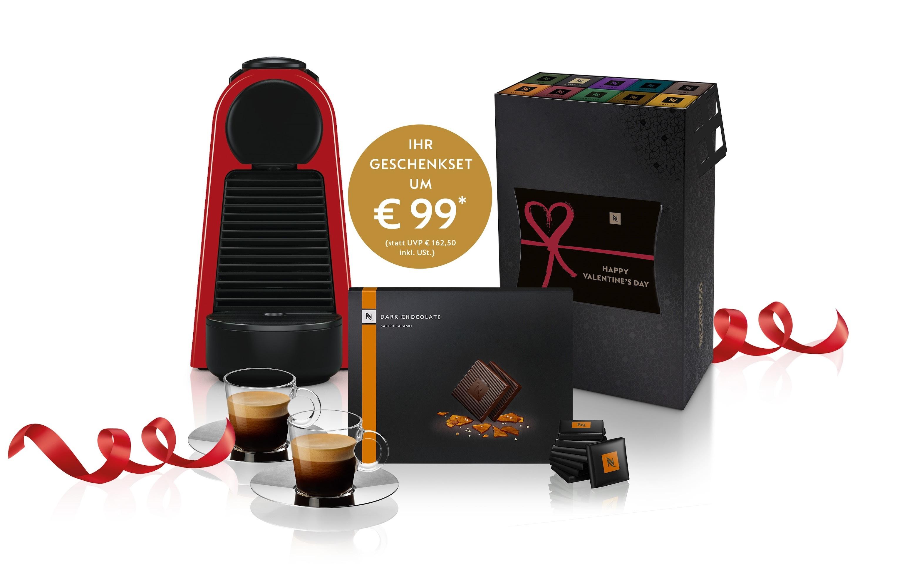 Nespresso Maschine Essenza Mini Red, zwei View Espresso Tassen, eine Packung Dark Chocolate Salted Caramel und ein Kaffeeset mit 100 Kapseln