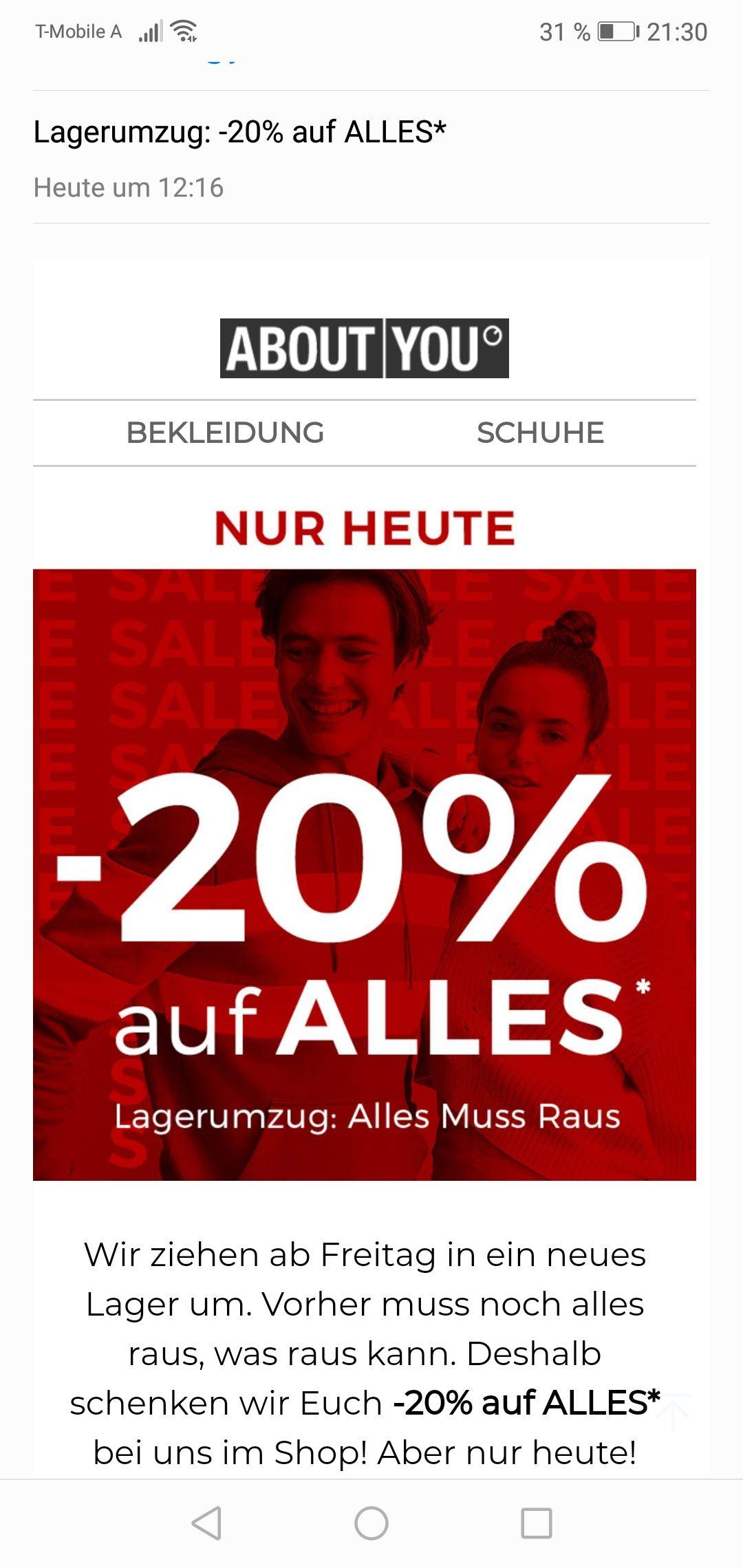 AboutYou: -20% auf alles im online Shop
