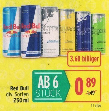 Merkur | Red Bull div Sorten ab 6 Dosen - bis 27.2.2019