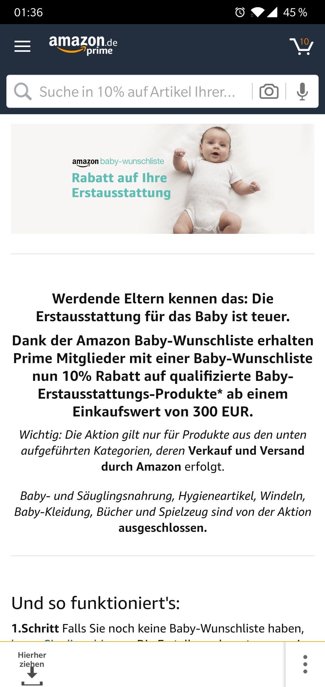 -10% ab 300€ auf  BABYARTIKEL bei Amazon