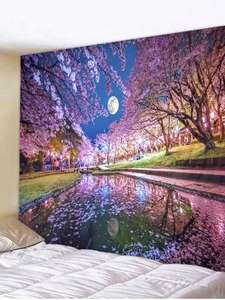 Rosegal: Sakura Moon Printed Tapestry Wall Hanging Decoration