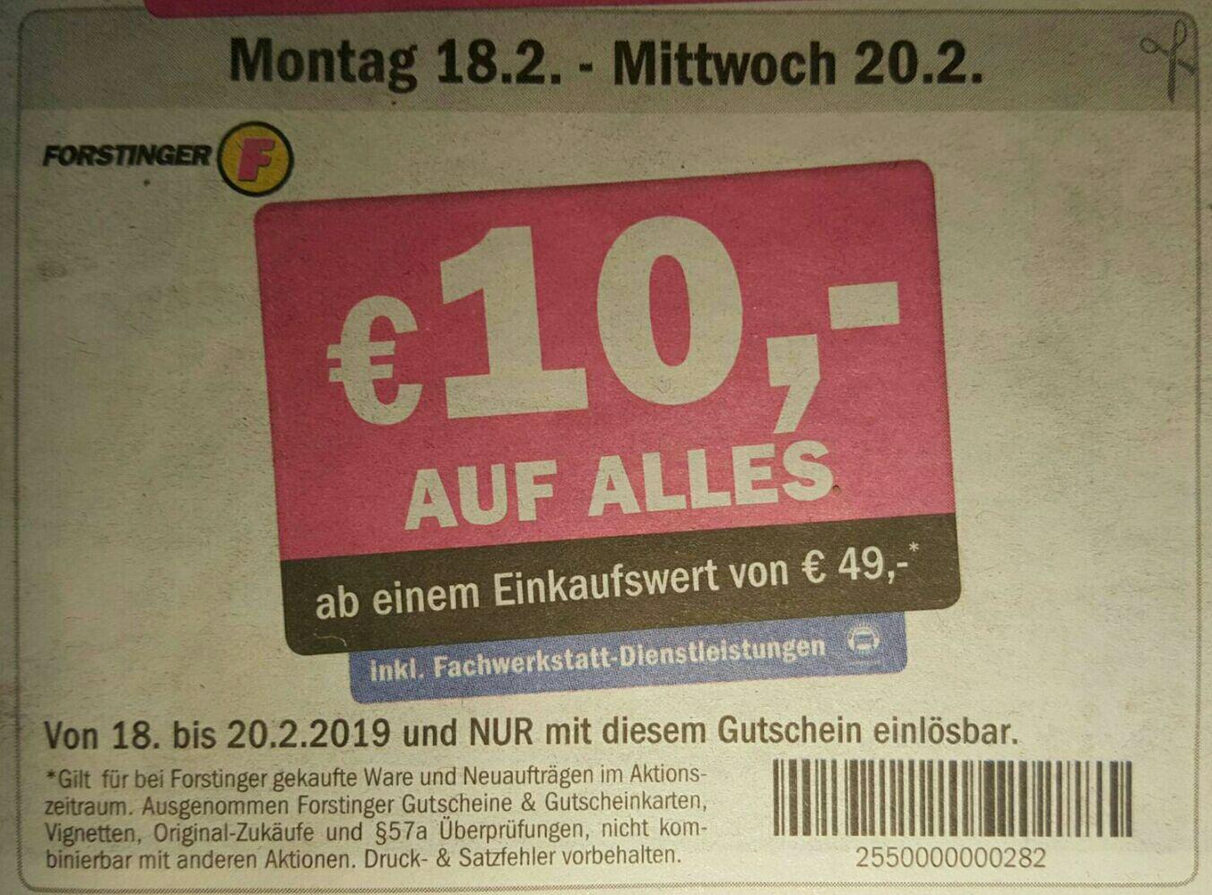 [Forstinger] 10€ Rabatt auf ALLES ab 50€ (-20%)
