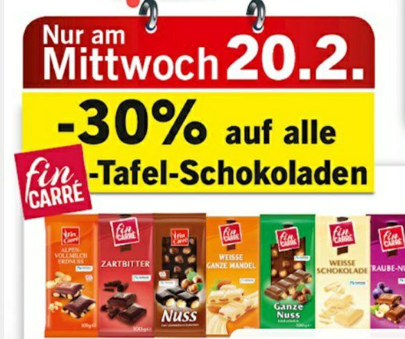 -30% auf alle Tafel-Schokoladen von fin Carré bei Lidl