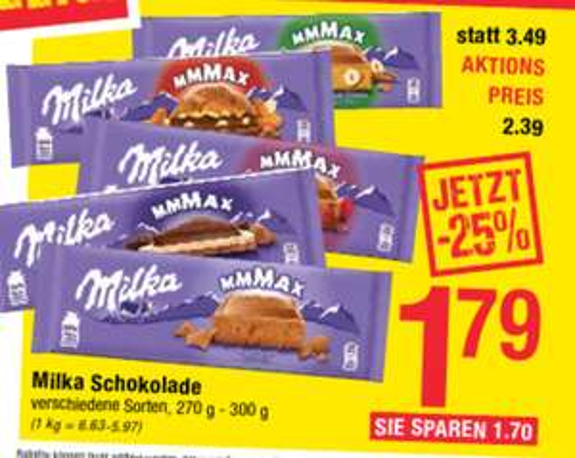[MaxiMarkt] Milka Tafelschokolade (270g/300g)