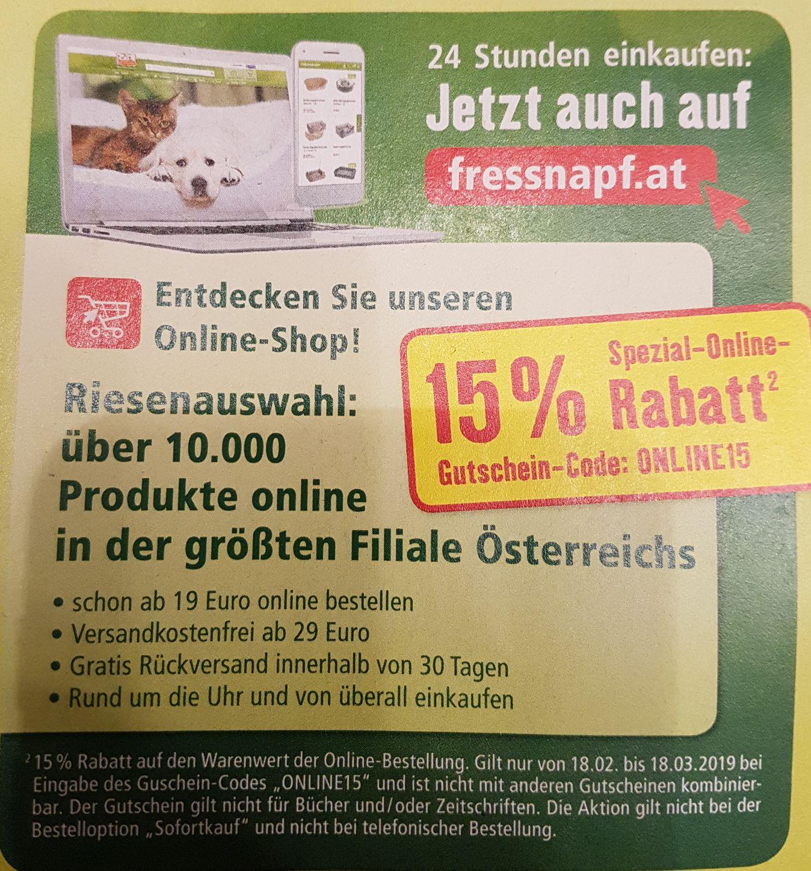 Fressnapf: -15% im Online Shop