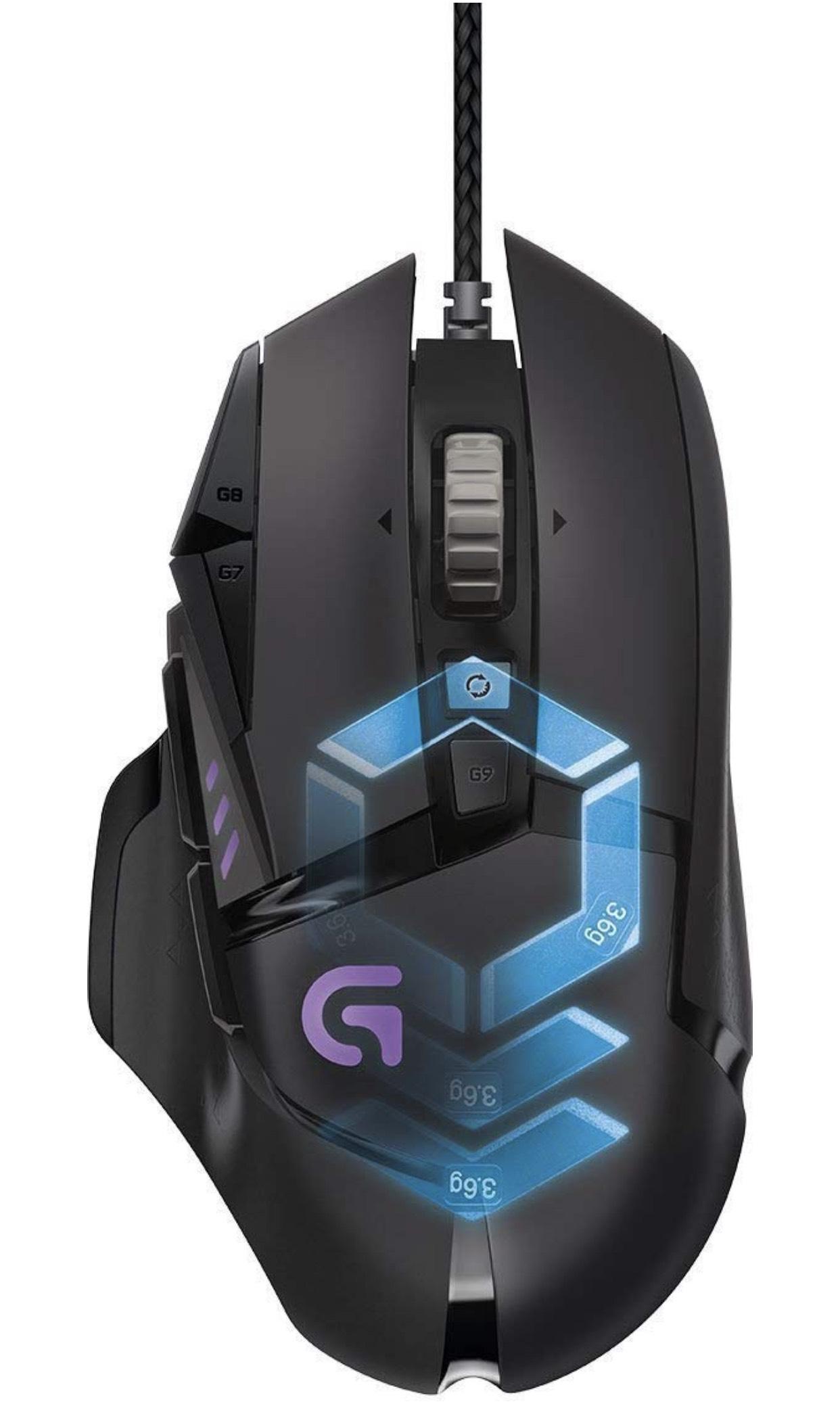 Logitech G502 Proteus Spectrum Gaming-Maus (mit RBG-Anpassung und 11 programmierbaren Tasten, 200 – 12.000 DPI) für 44,36€