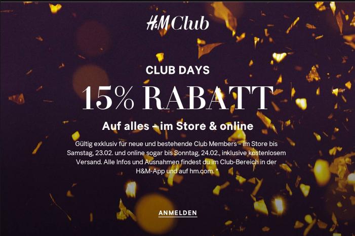 H&M: 15% Rabatt auf alles + keine Versandkosten - nur bis zum 24. Februar