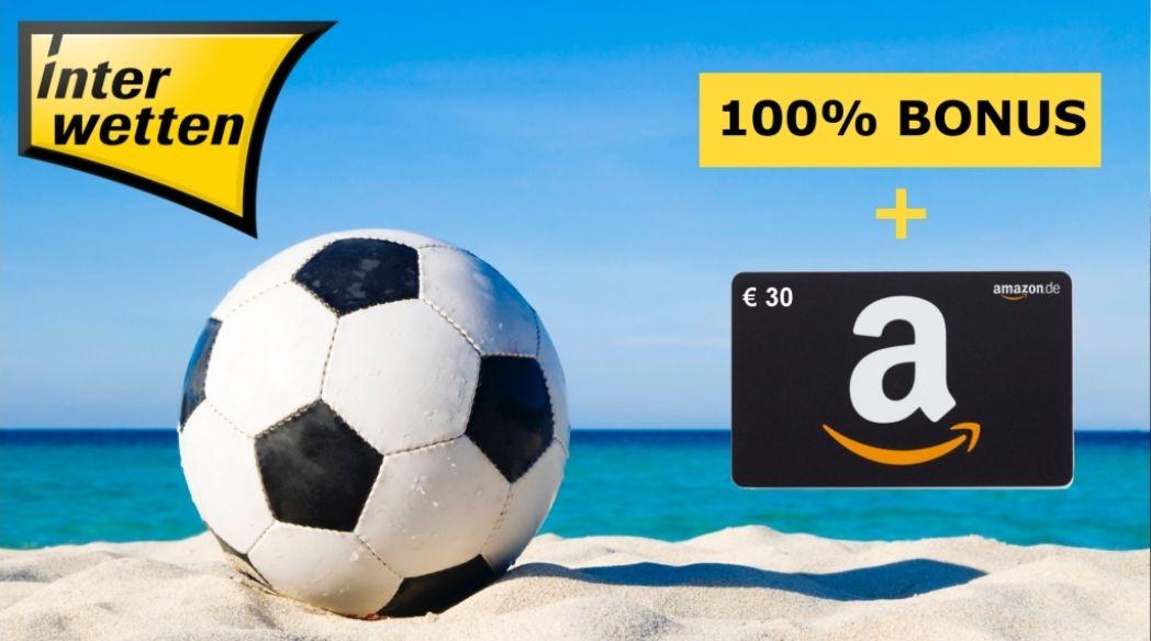 Interwetten Neukunden: Mindestens 10€ einzahlen + 100% Bonus + 10€ Registrierungsbonus + 30€ Amazon-Gutschein