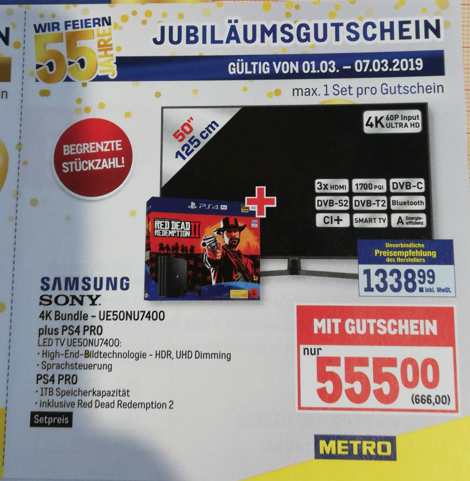 Samsung UE50NU7400 + PS4 Pro RDR2 Bundle