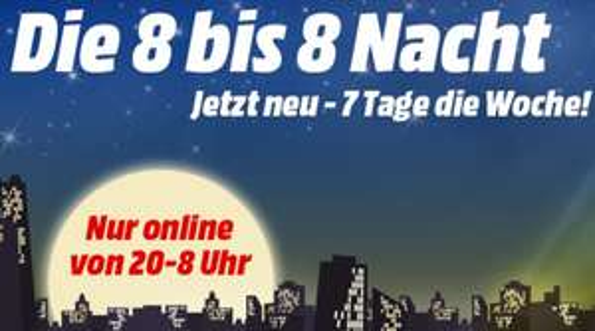 [Media Markt] 8 bis 8 Nacht - z.B. Waschtrockner Hoover WDXOA G496AHC-84 für 266 € statt 484,90 €