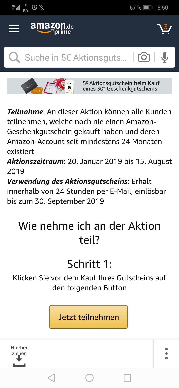 30€ Amazon-Gutschein kaufen und 5€ geschenkt erhalten