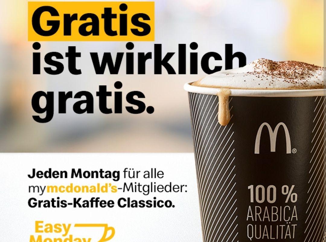 Easy Monday mit Gratis Kaffee/Heißgetränk für MyMcDonalds Kunden (ohne Frühstück!)