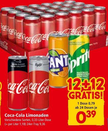 INTERSPAR / EUROSPAR | Coca Cola / Light / Fanta / Sprite 12 + 12 gratis ab 24 Dosen Do 23.05. bis Mi 05.06.