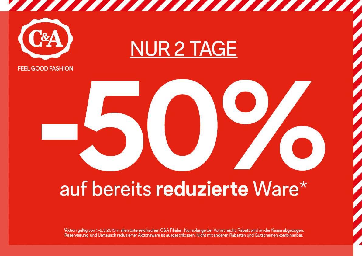 C&A: -50% auf reduzierte Ware
