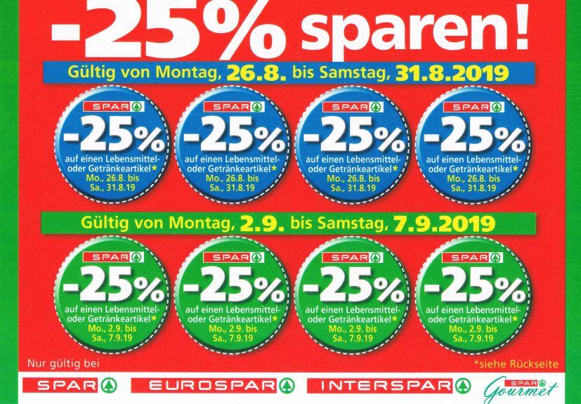Spar / Interspar / Eurospar / Spar Gourmet -25% Rabatt auf 4 Artikel je Einkauf von 26.8. bis 7.9.