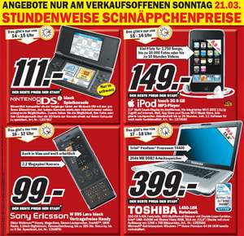 Verkaufsoffener Sonntag mit Angeboten wie Nintendo DSi für 111€ @MediaMarkt  Paderborn