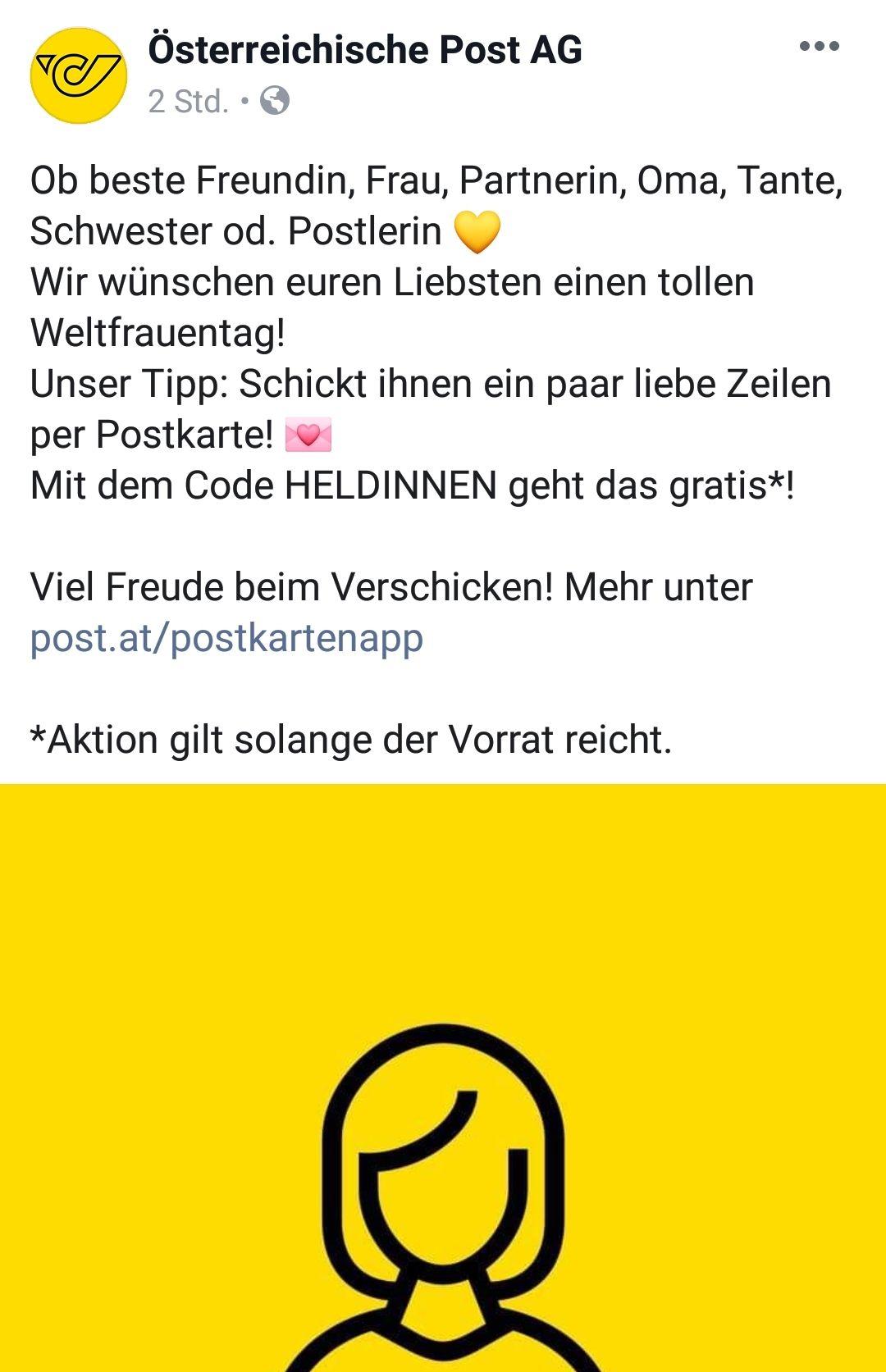 Gratis Postkarte mit der österreichischen Post