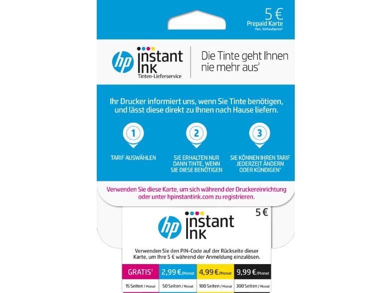 HP Instant Ink 5€ Guthaben Karte für 4€