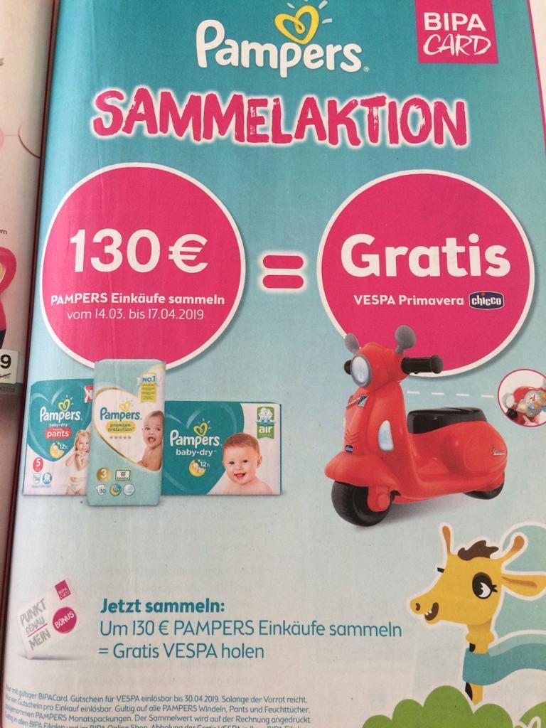 [BIPA] GRATIS Vespa Primavera von Chicco beim Kauf von Pampers Produkten im Wert von € 130,-