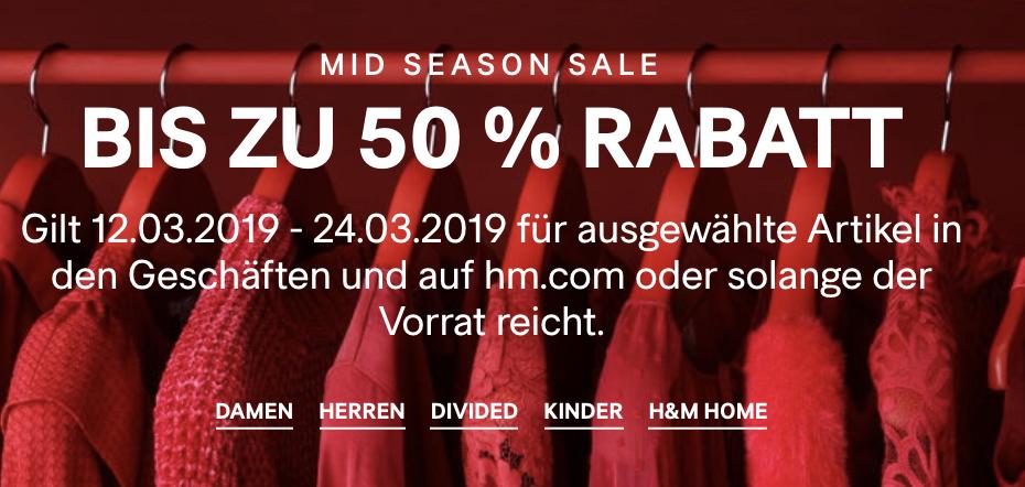 H&M: Mid Season Sale - bis zu 50% Rabatt