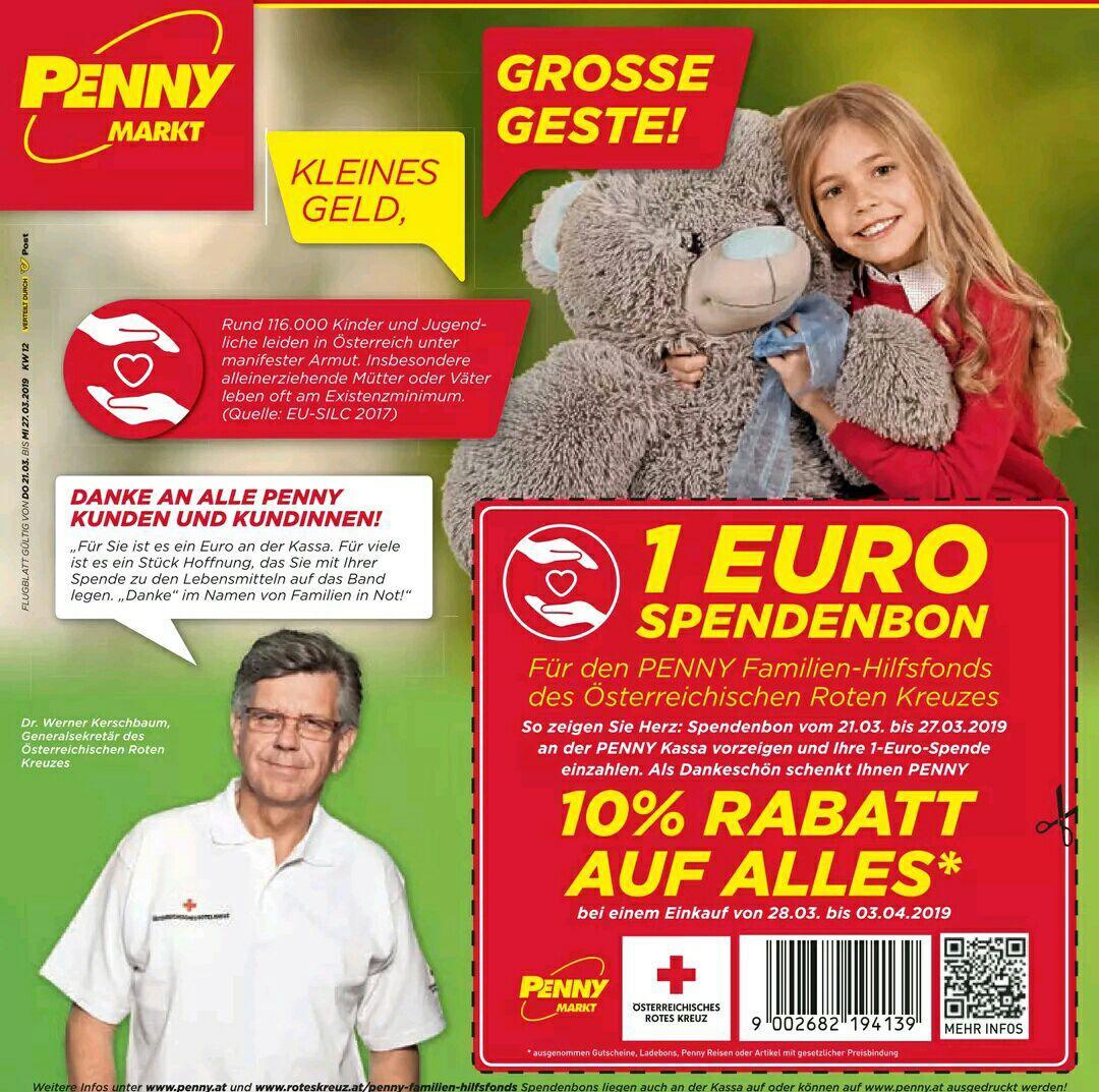 [Penny] 1 € Spende für 10% Penny-Gutschein