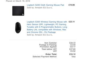 (Amazon.co.uk) Logitech G305 Wireless Gaming Mouse (schwarz) + G240 Gaming Mouse Pad
