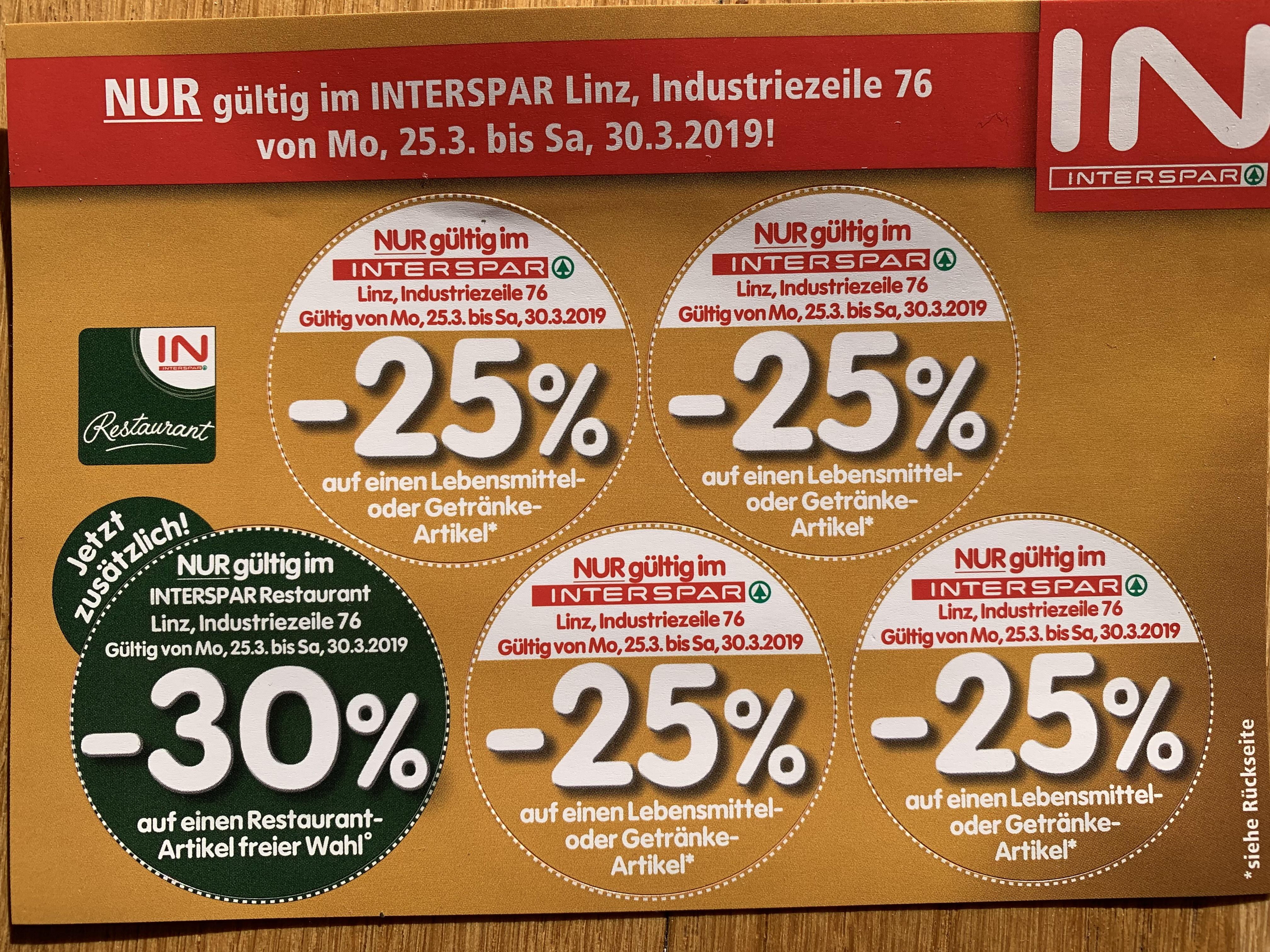 [Linz] Interspar Industriezeile -25% Sticker auf Lebensmittel- oder Getränkeartikel