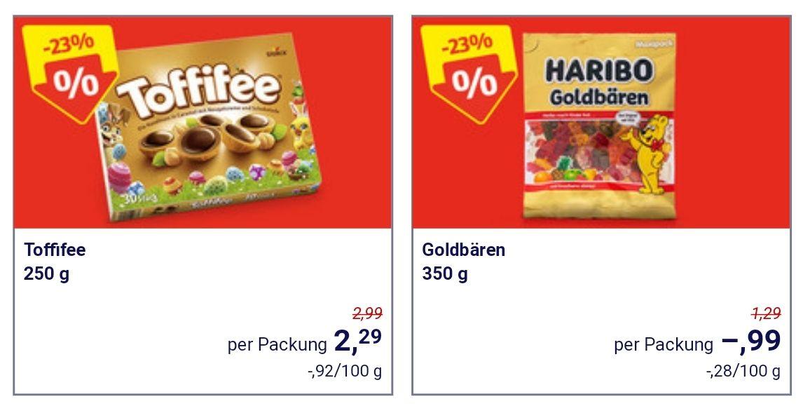 Hofer: Toffifee 250g um 2,29€ / Haribo Goldbären 350g um 0,99€