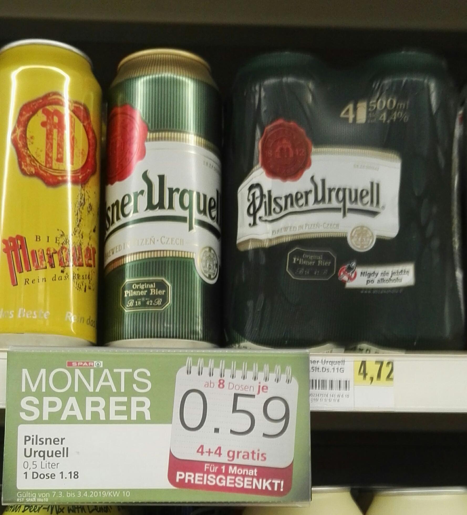 [Spar] Pilsner Urquell 4+4 -> 0,44€/Dose | Mit Cashback 0,24€/Dose