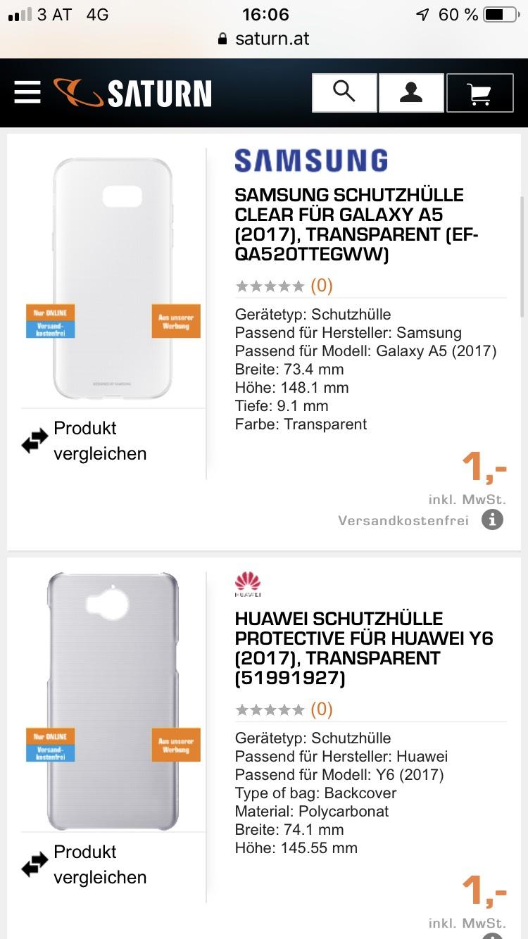 saturn.at: diverse Smartphone-Hüllen ab € 1,— versandkostenfrei