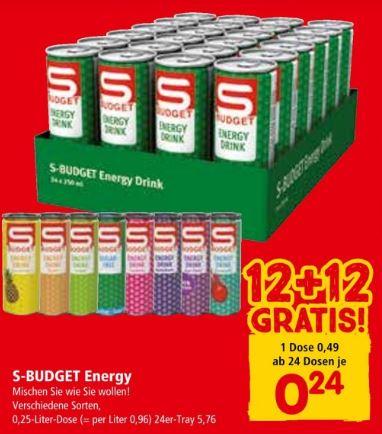 SPAR / INTERSPAR / EUROSPAR | S-Budget Energy Drink 12 + 12 gratis ab 24 Dosen Do 02.05. bis Di 28.05.