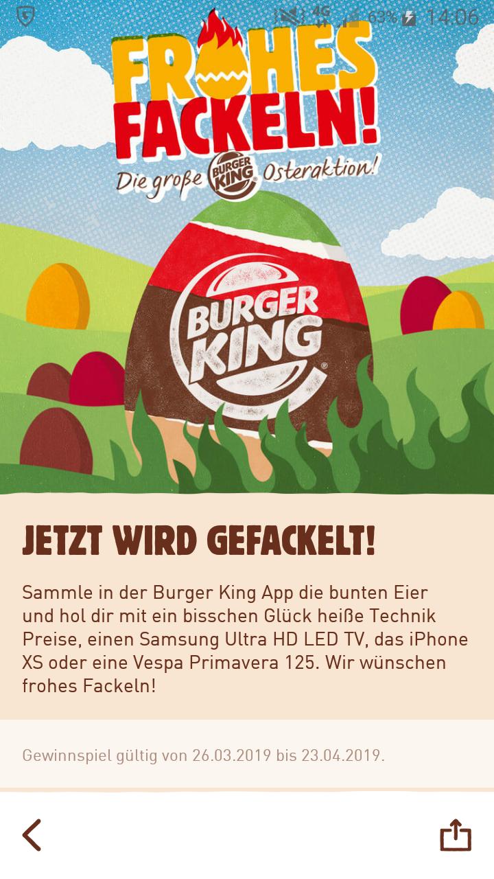 Frohes Fackeln bei Burger King