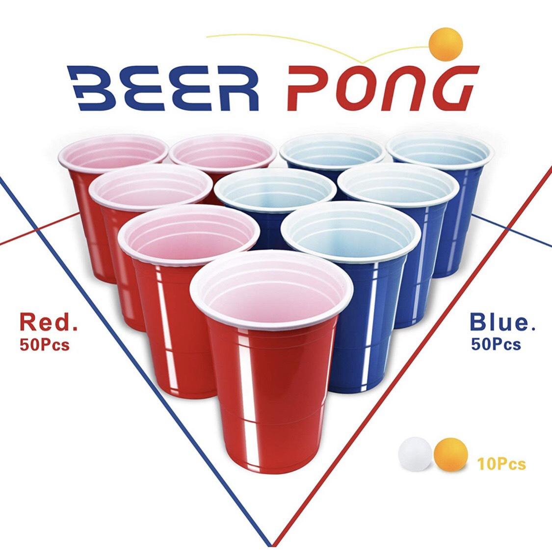 100x Beer Pong Becher + 10 Bälle