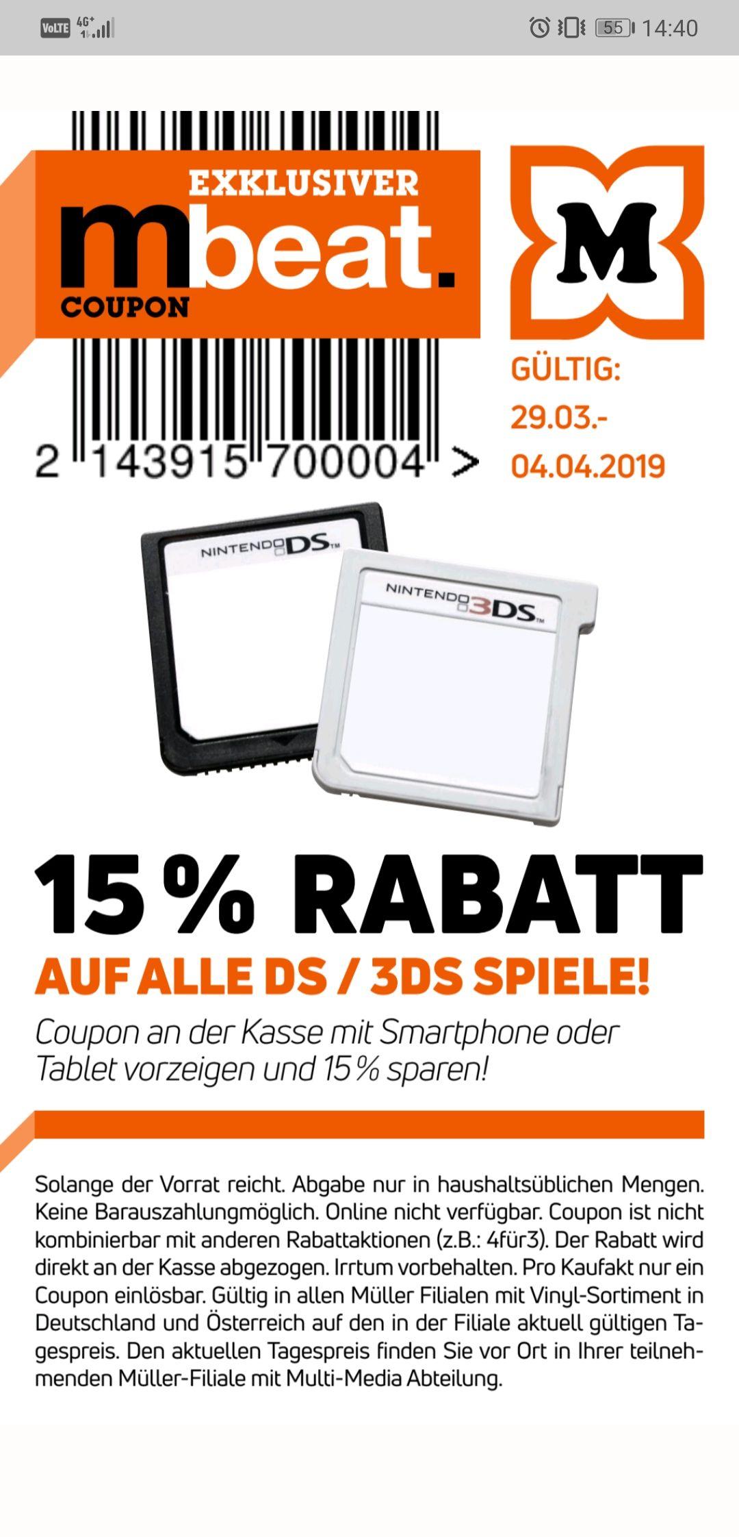 MÜLLER -15% auf alle Nintendo DS / 3DS Spiele