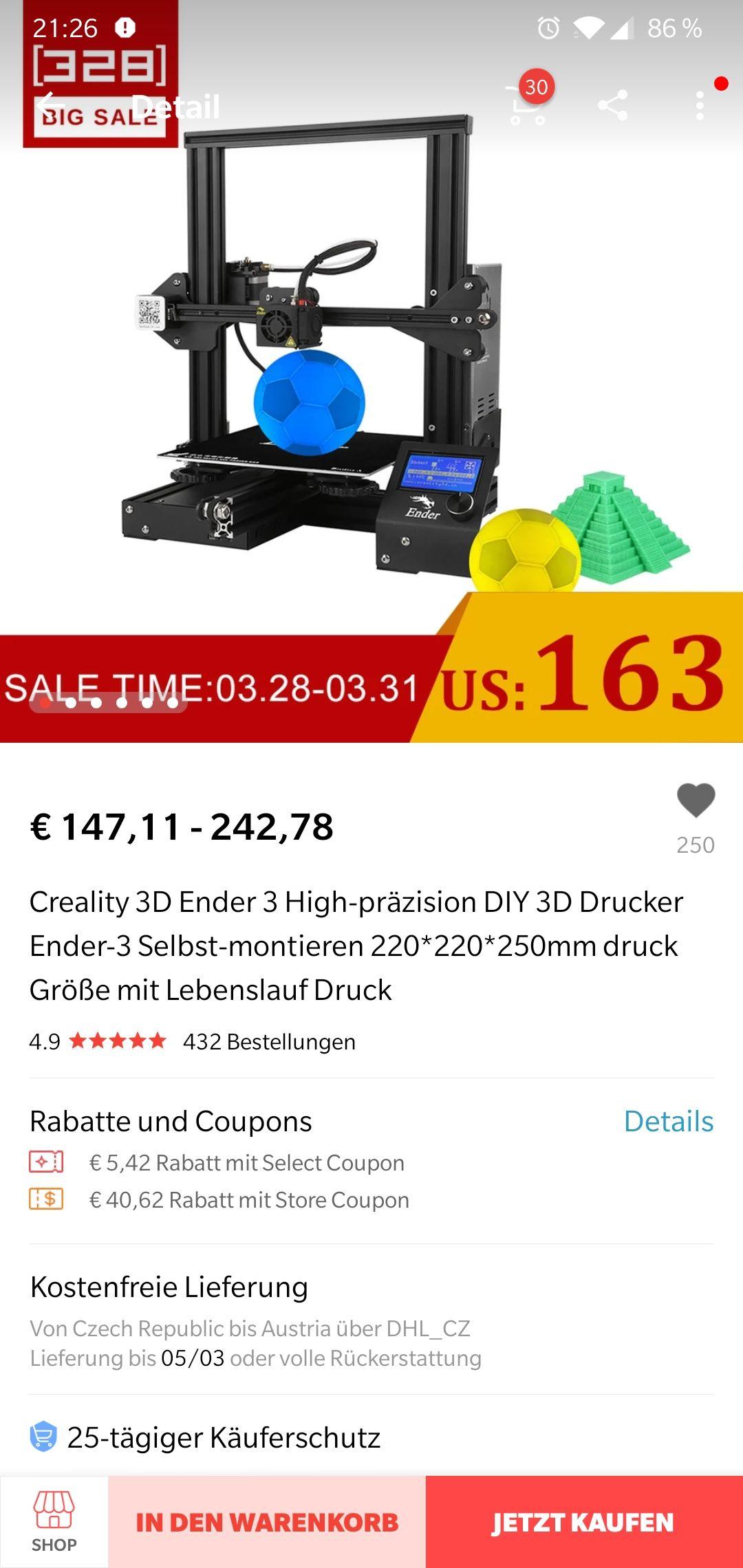Ender 3 3D Drucker zum Tiefpreis! Tschechisches Lager! (128,26€)