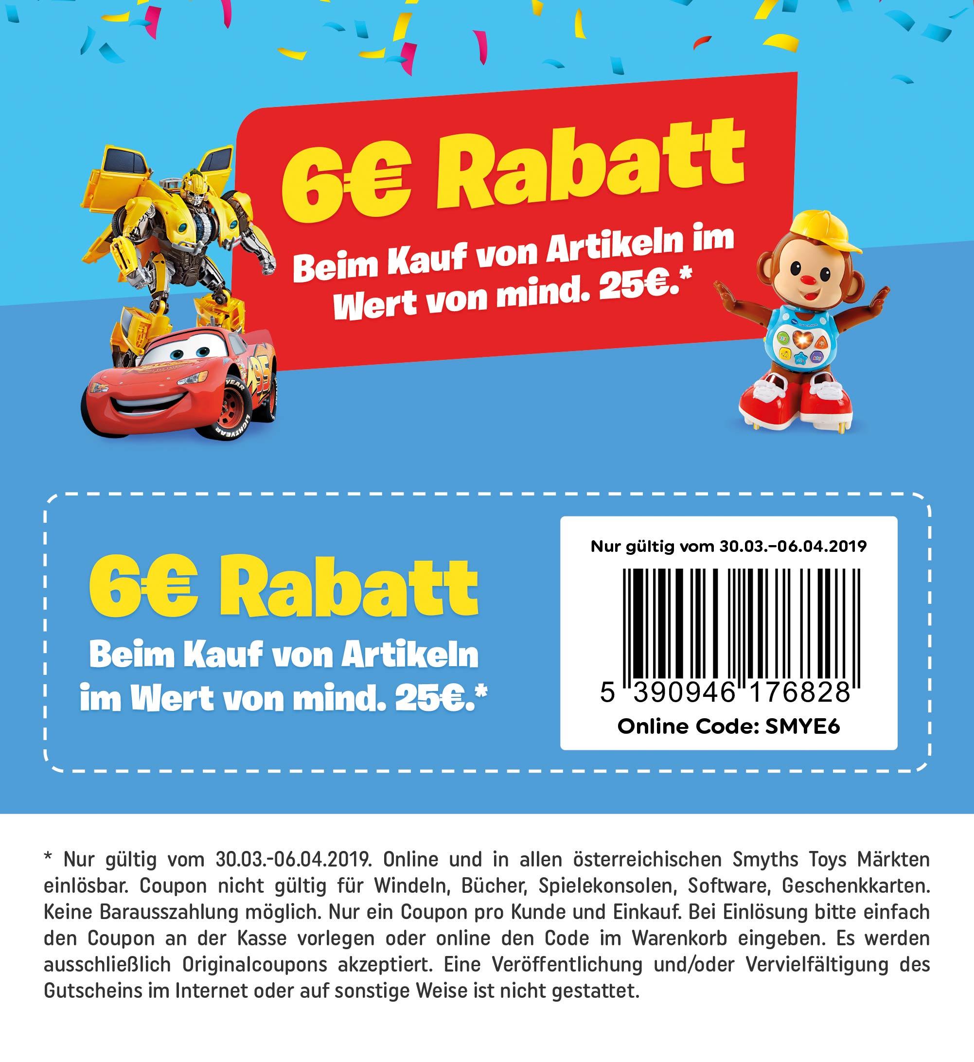 Smyths Toys: 6€ Rabatt ab 25€ - Online und in allen Märkten
