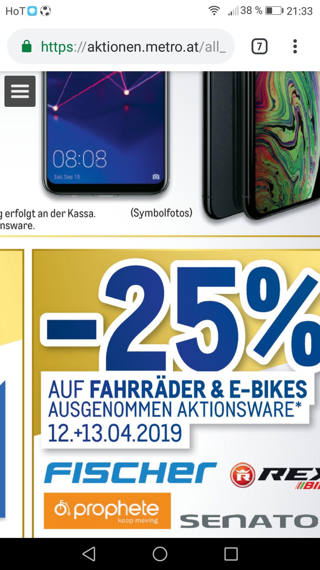Metro 25 Prozent auf alle Fahrräder und E bikes