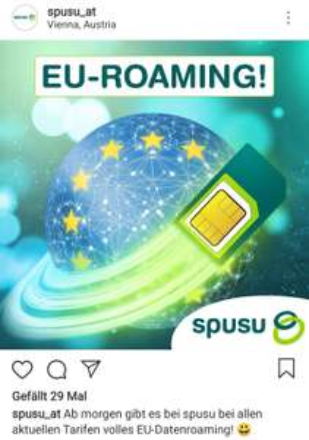 Spusu - ab sofort volles EU-Datenroaming (statt vormals 500MB)