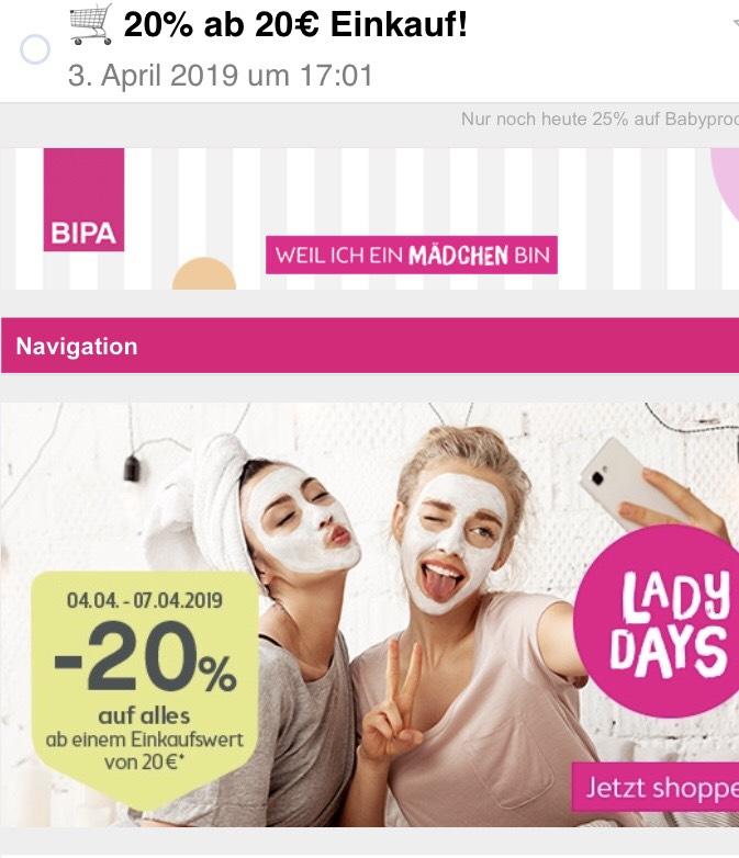 Bipa: 20 % auf alles ab einem Einkauf von € 20