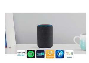 Amazon  Echo Plus (2. Gen.), Anthrazit Stoff + Philips Hue White Lampe