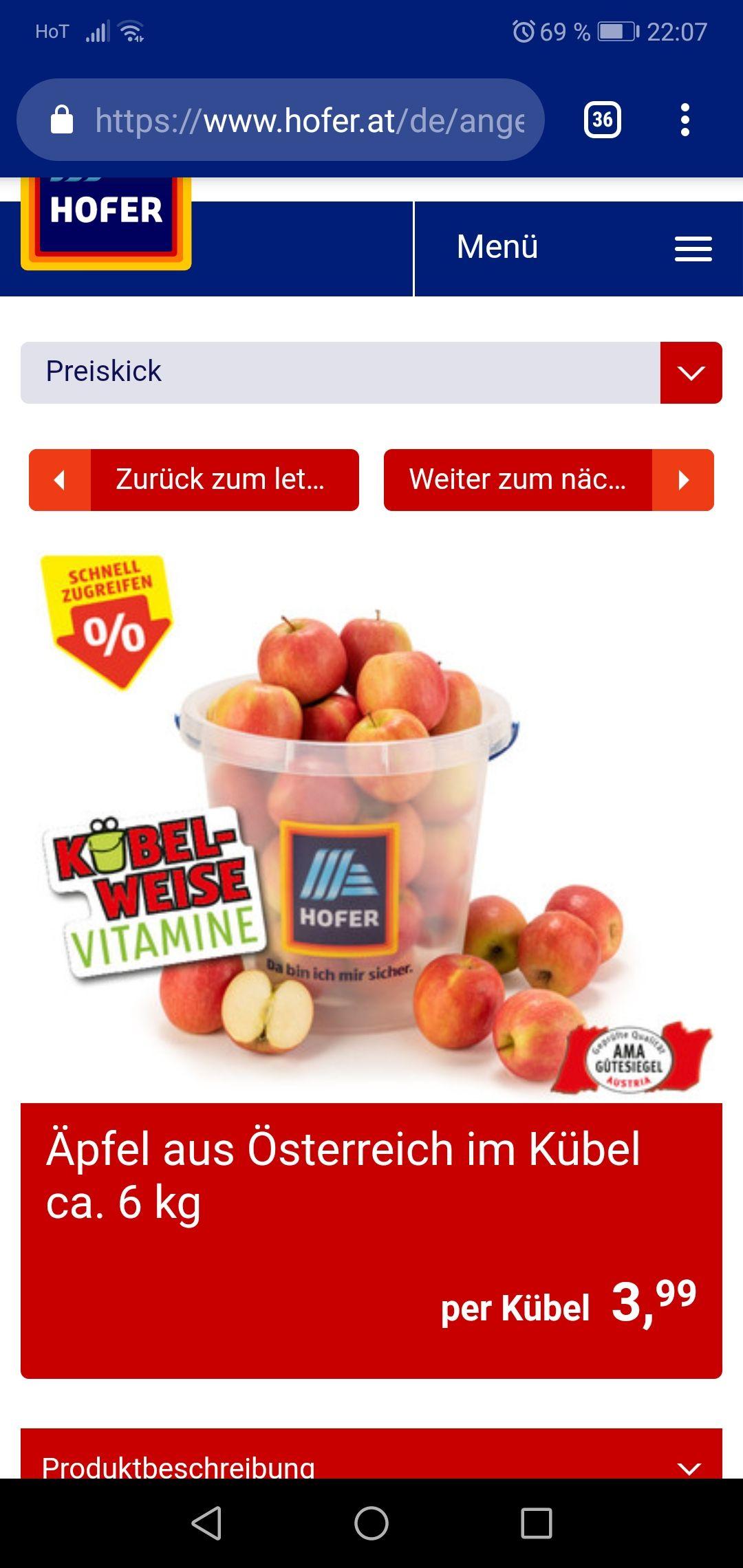 Hofer 6 kg jonagold Äpfel aus Österreich incl Eimer