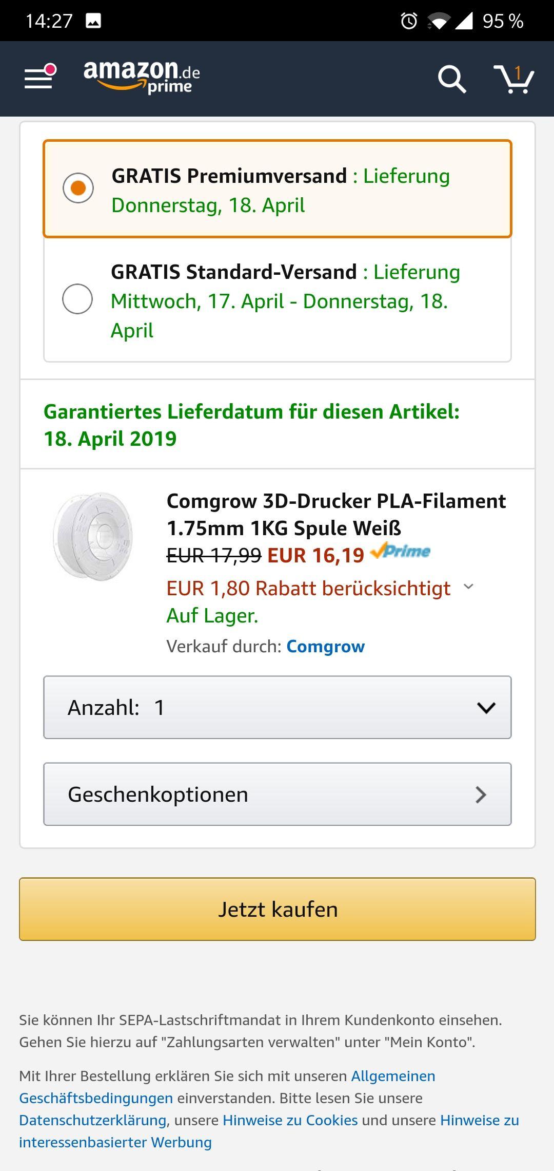 Comgrow PLA Filament 1,75 mm 1 kg Blau/Gelb/Rot/Schwarz/Weis