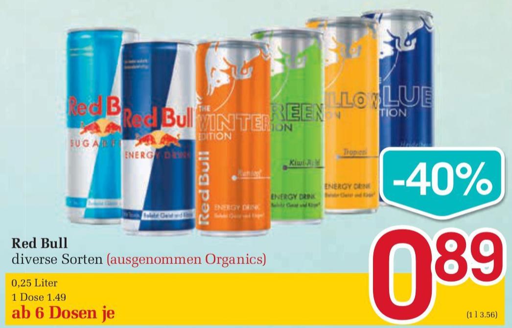 www.billa.at l Am 11, 12 & 13.04 gibt es ab 6 Dosen Redbull (diverse Sorten) einen Preis von € 0,89 je Dose
